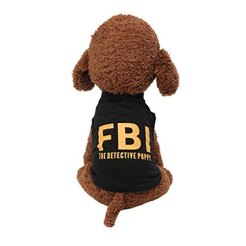 Fbi Romper - OUBAO Pet Clothes, Dog Vest Tanks Tops Tees Blouses Shirts for Puppy Dress Skirt Romper Bodysuit for Pet Cats Dogs Classic FBI Print Vest Dog Cat Clothing