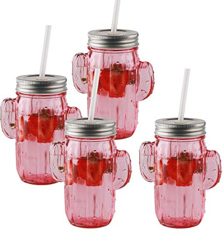Circleware 69078 Mason Jars Drinking Glasses with Metal Lids and Hard Plastic Straws Set of 4, Glassware for Water Beer and Kitchen & Home Decor Bar Dining Beverage Gifts, 15.5 oz, Pink