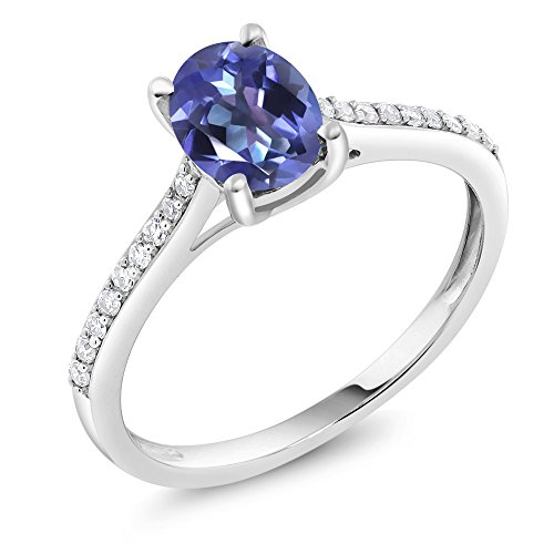 Diamond Engagement Solitaire Ring set with 8x6mm Oval Blue Mystic Topaz 1.40 ct (10k Gold Pave Set)