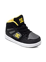 DC Rebound UL Youth Shoes Skate Shoe (Toddler), Black/Grey/Yellow, 5 M US Toddler