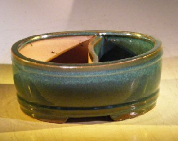 Bonsai Boy Blue/Green Ceramic Bonsai Pot - Oval - Land/Water Divider - 8.0