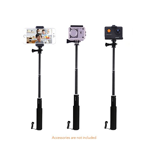 Apeman Selfie Stick Self-portrait Extendable Aluminum Monopod Holder Perfectly Compatiable with action cameras, smartphones, waterproof cases by APEMAN (Image #1)