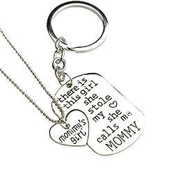Bling Stars Family Heart Love Silver Pendant Necklace and Keychain Set-Mom Daddy Grandma Grandpa Nana Bae