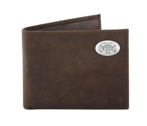 Bi Fold State College Wallet (NCAA Mississippi State Bulldogs Zep-Pro  Crazyhorse Leather Bifold Concho Wallet, Light Brown)