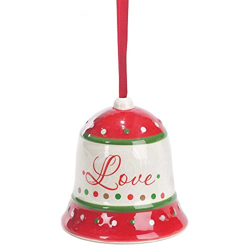 - Love Bell Cranberry Cream and Fern 3 x 3.25 Dolomite Ceramic Christmas Ornament