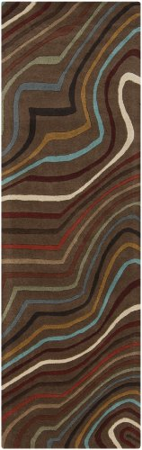 Surya Forum FM-7155 Contemporary Hand Tufted 100% Wool Coffee Bean 2'6'' x 8' Abstract Runner by Surya