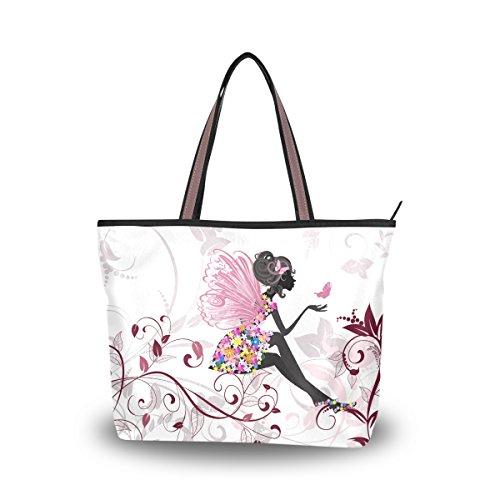 JSTEL Women Large Tote Top Handle Shoulder Bags Flower Fairy With Butterflies Patern Ladies Handbag - Flower Tote Bag