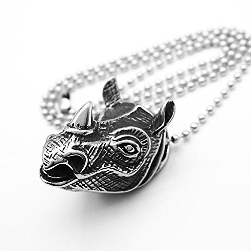 Stainless Steel Men Silver Rhino Head Animal Pendant Necklace Cool Jewelry ()