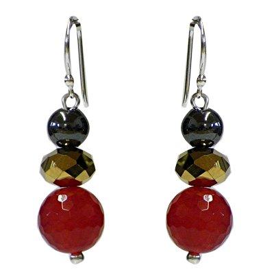 Verre Chic-Net Boucles d'oreilles Pearl-rouge-pourpre et d'or-verre en argent 925 Bracelet ca.22mmØ