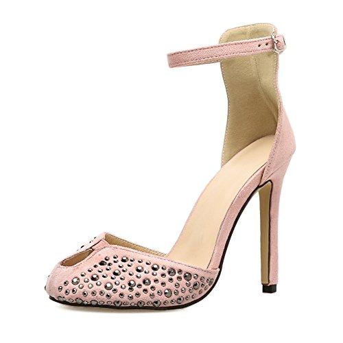 Mujer Alta Tacón Hueco Sandalias GZSL-938-21 Diamantes De Imitación Princesa Zapatos Tobillo Correa Sexy Fiesta Baile Zapatos Stiletto Plataforma,KJJDE Pink