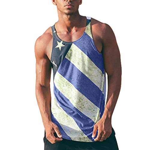 Men's All-Over Print Tank Slim Fit Muscle Shirt Independence Day American Flag Printed Tank Tops Vest Blue
