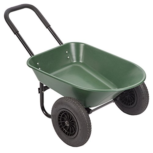 BestMassage Garden Cart 2 Tire Wheelbarrow Landscape Yard Wagon Cart Heavy Duty 2 Wheel Poly Wheelbarrow Flat Free,Green by BestMassage