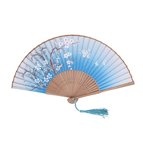 Fan, hand-held Folding Fan Chinese Style Exquisite Design Suitable for Gift Giving and Wedding Use and Personal Decoration (blue)