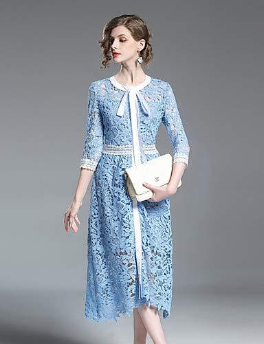 Fleurs À Robe découpe Blue Slim Dentelle Yfltz géométrique Femmes amp; Plaid Bow Bleu Taille Haute Blanc Pour Coton Floral En F1nBwIXq