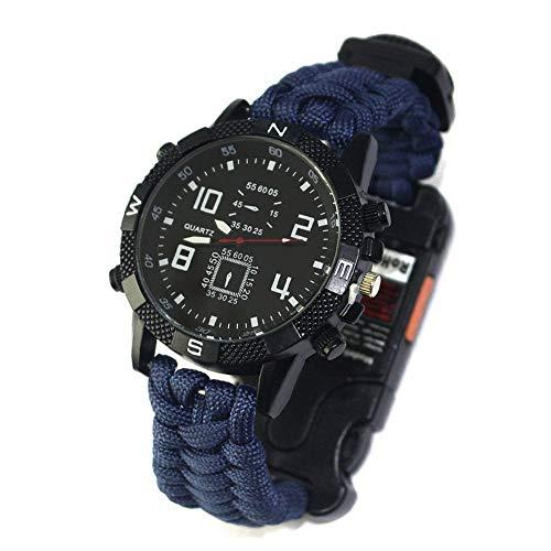 DOMO 야외 서바이벌 시계 우산 직조 다기능 손전등 적외선 보라색 빛 나침반 등산 시계 야생에서 사는 아웃 도어 스포츠 용품 / DOMO Outdoor Survival Watch Umbrella Weave Multifunction Flashlight Infrared Purple Light Compass Climbing Watc...