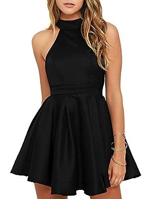 Berydress Women's Halter Neck Backless Black Cocktail Party Dress