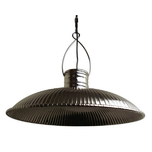 LightMakers CLAIRE Round Ribbed Hanging Lamp in Nickel, 21.5'