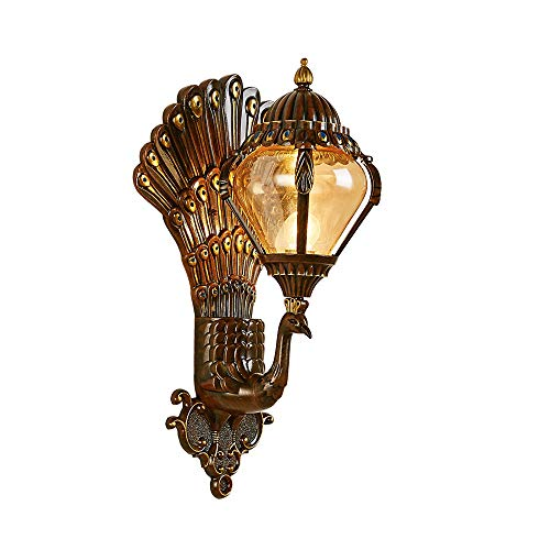 Modenny Luxury Decor Wall Peacock Lantern Wall Light Waterproof IP54 Outdoor Spherical Glass Mount Sconce Lamp Creative Art Metal Villa Garden Decoration with E27 Light Source Fittings ()