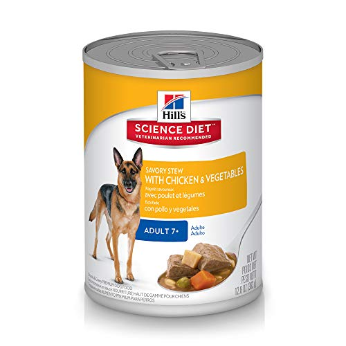 Hill's Science Diet Canned Dog Food, Adult 7+, Savory Stew with Chicken & Vegetables, 12.8 oz, 12-pack