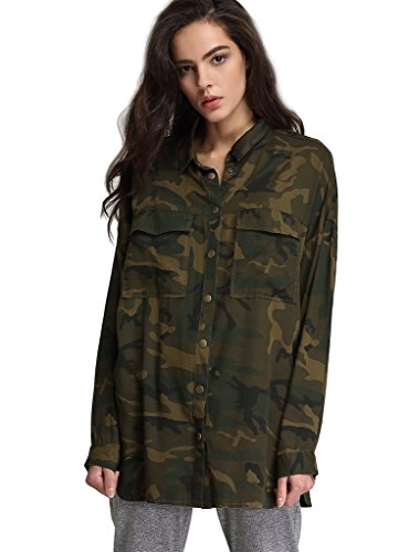 Escalier Women's Button Down Shirt Long Sleeve Causal Military Camouflage Blouse With Pocket,Camouflage,X-Large