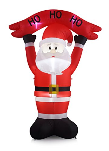 8 Foot Inflatable Santa with HO HO HO Banner Sign Indoor Outdoor LED Lighted Yard Decoration