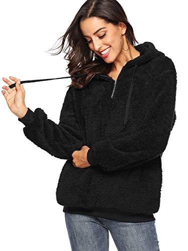 Famulily Women's 1/4 Zip Front Fuzzy Warm Fleece Hoodies Long Sleeve Hooded Sweatshirt Tops Black XL