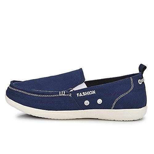 Yuanli Menns Uformell Slip På Lerret Loafers Båt Sko Navy