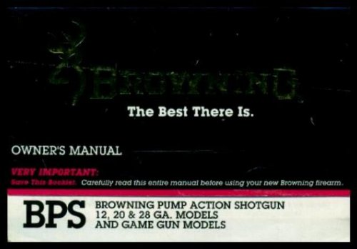 BROWNING PUMP ACTION SHOTGUN OWNER'S MANUAL
