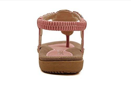Newyork Offre Magasin Femmes Bohème Sandales Fronde Perles De Fleurs Yoga Flip Flop Appartements Slingback Chaussures Rétro Rose