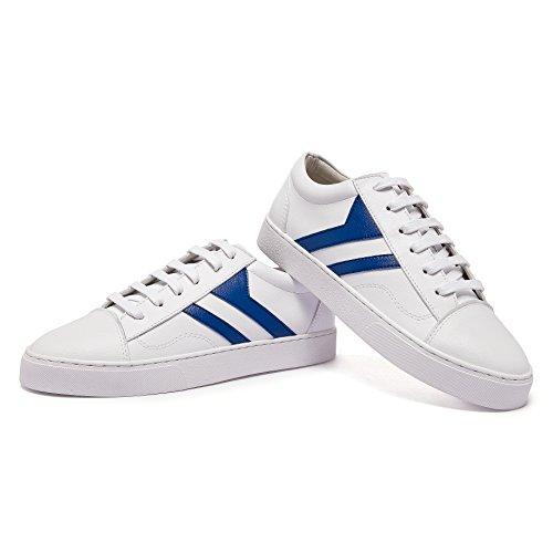Inconnu Femme Chaussure de Sport Mode Baskets Basse Plat Bout Rond Sneaker Chaussure Casual Marche Course Confortable Blanc Bleu 36 Ys9VuwO5