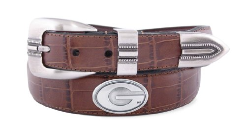 NCAA Georgia Bulldogs Tan Crocodile Tip Leather Concho Belt, 38 ()