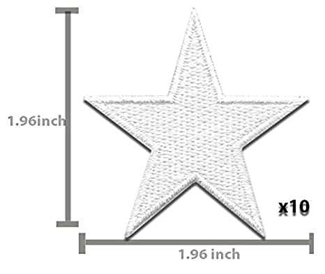 White Star Patch 10 pcs Iron On Patch Embroidered Applique Star S-6 Iron On Patches 1.96 x 1.96 inches