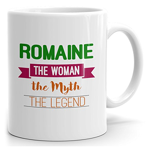 MugMax The Woman the Myth the Legend D5 Ceramic Coffee Mug Personlized Romaine White 15 ()