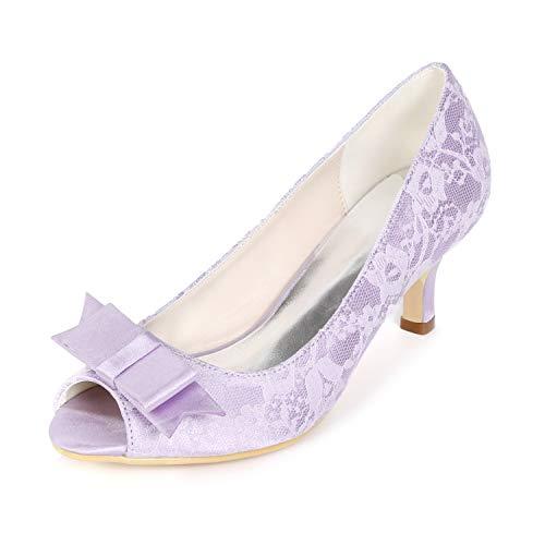 Funkelnde Frau 43 L YC Absatz Satin High Heels Purple Platform Hochzeitsschuhe Toe 9cm Peep 35 nzYz5qrR