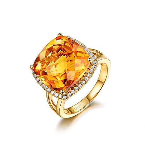 Adisaer-Women's Ring 18k Yellow Gold Citrine 10.56ct Yellow Square