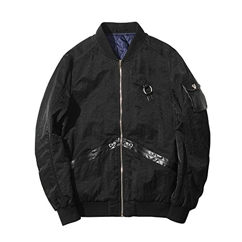 LETSQK Men's Bike Motorcycle MA-1 Air Force Flight Baseball Bomber Jacket Black L