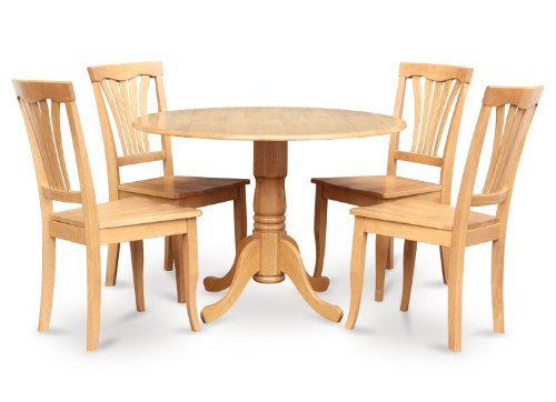 East West Furniture DLAV5-OAK-W 5 PC Kitchen Set-Drop Leaf Table and 4 dinette Chairs, Wood Seat Oak Finish ()