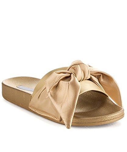 Cape Robbin Moira-19 Women's Fashion Bow Decor Slip On Slide Sandal,Gold,10