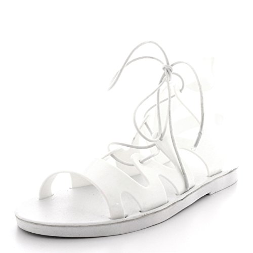Womens Lace Up Jelly Ankle Summer Holiday Beach Cut Out Gladiator Sandals - White - UK6/EU39 - PN0070 H3WHjBq