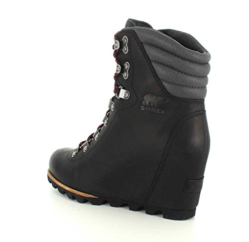 Women's Grey Conquest Dark Sorel Wedge Mid Black Calf Boot ZaHqp
