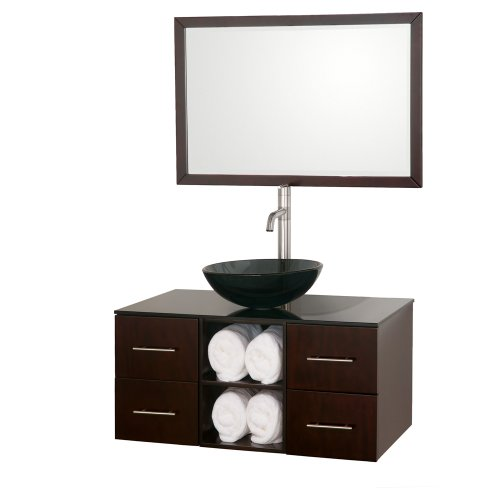 Wyndham Collection Abba 36 inch Single Bathroom Vanity in Espresso, Smoke Glass Countertop, Smoke Glass Sink, and 36 inch Mirror