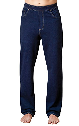Cotton Denim Mens Jeans - PajamaJeans Men's Straight Leg Knit Denim Dark Blue Jeans, Indigo, X-Large