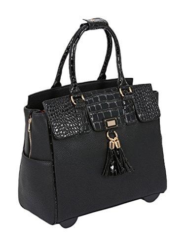 DER LEXINGTON Damen-Trolley / -Handtasche Brieftasche mit Rollen für iPad, Tablet oder Laptop, Alligator-Optik, Schwarz Laptoptrolley