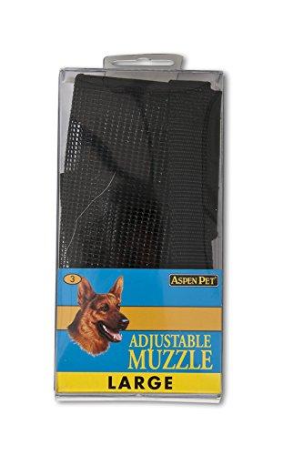 ASPEN PET PRODUCTS 27252 Large Adjustable Dog Muzzle, Black Aspen Pet Adjustable Dog Collar