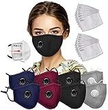 8 piezas de mamposterías faciales de seguridad con 20 filtros, bandanas faciales con válvula de respiración con filtro…