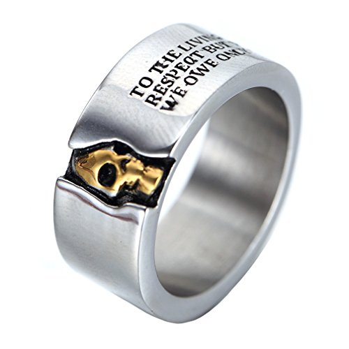 Oakky Men's Stainless Steel Skull Ring Cool Half Face Silver White Biker Bands Engraved Letters Size 10