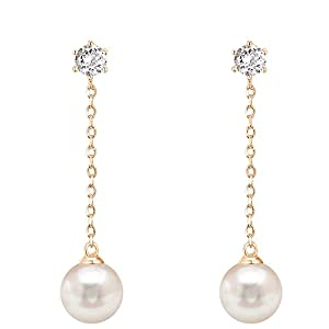 PAVOI 14k Gold Plated Sterling Silver Post Shell Pearl Drop Earrings | Pearl Earrings for Women