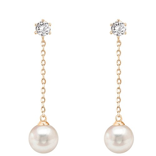 PAVOI 14k Rose Gold Plated Sterling Silver Post Shell Pearl Drop Earrings | Pearl Earrings for Women