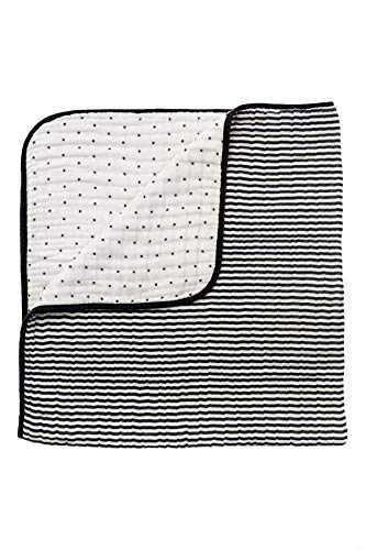 - Clementine Kids 4 Ply Gauze Muslin Cotton Reversible Quilt Black and White Stripe