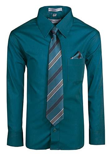 Tuxgear Boys Long Sleeve Button Up Dress Shirt with Necktie, Teal, Boys 8